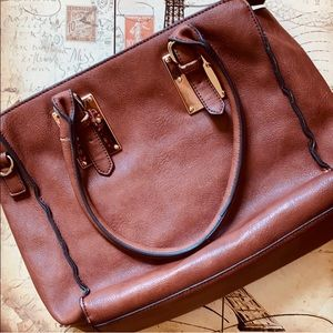 Melie Bianco Brown Vegan Leather Handbag